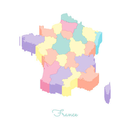 on top of the world: France region map: colorful isometric top view. Detailed map of France regions. Vector illustration. Illustration
