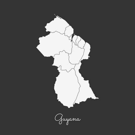 Guyana region map: white outline on grey background. Detailed map of Guyana regions. Vector illustration.