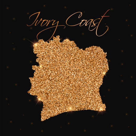 Ivory Coast map filled with golden glitter. Luxurious design element, vector illustration.