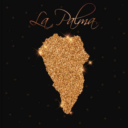 La Palma map filled with golden glitter. Luxurious design element, vector illustration.