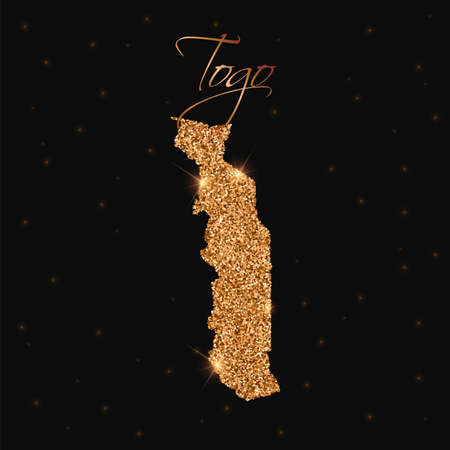 Togo map filled with golden glitter. Luxurious design element, vector illustration. Illustration