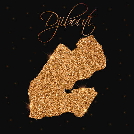 Djibouti map filled with golden glitter. Luxurious design element, vector illustration. Illustration