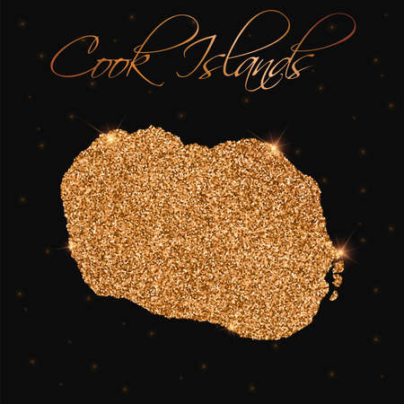 Cook Islands map filled with golden glitter. Luxurious design element, vector illustration.