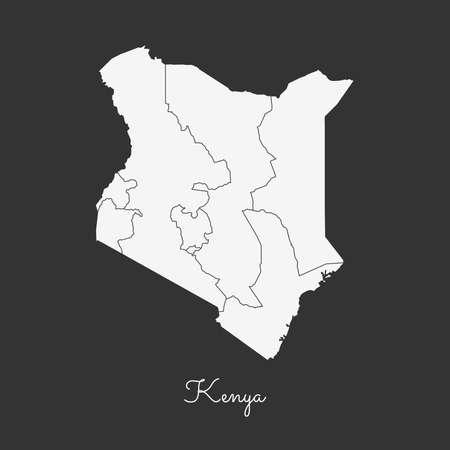 Kenya region map: white outline on grey background. Detailed map of Kenya regions. Vector illustration. Illustration