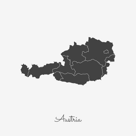 Austria region map: grey outline on white background. Detailed map of Austria regions. Vector illustration.