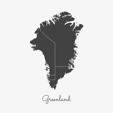 Greenland region map: grey outline on white background. Detailed map of Greenland regions. Vector illustration.