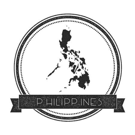 nationalist: Retro distressed Philippines badge with map. Hipster round rubber stamp with country name banner, vector illustration.