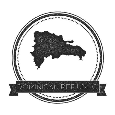 Retro distressed Dominican Republic badge with map. Hipster round rubber stamp with country name banner, vector illustration. Illustration