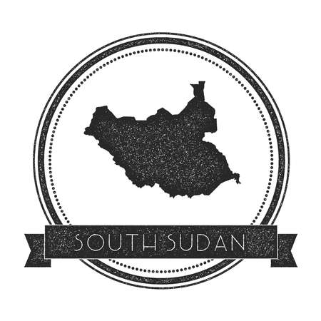 Retro distressed South Sudan badge with map. Hipster round rubber stamp with country name banner, vector illustration.