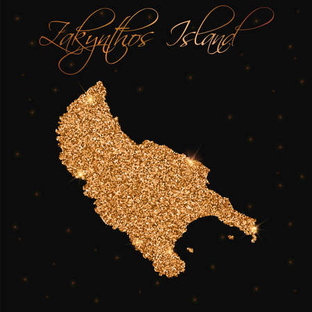 Zakynthos Island map filled with golden glitter. Luxurious design element, vector illustration. Illustration