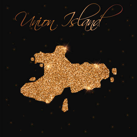 Union Island map filled with golden glitter. Luxurious design element, vector illustration.