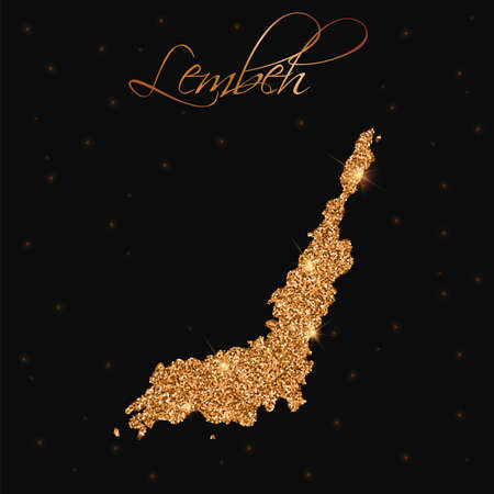 Lembeh map filled with golden glitter. Luxurious design element, vector illustration.