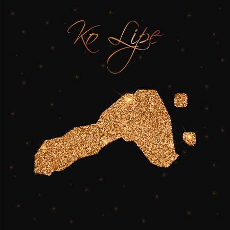 Ko Lipe map filled with golden glitter. Luxurious design element, vector illustration.