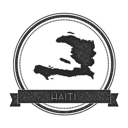 caribbean cruise: Retro distressed Haiti badge with map. Hipster round rubber stamp with country name banner, vector illustration.