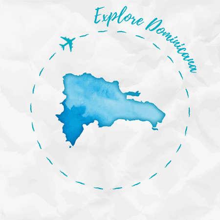 Dominicana Aquarell Karte in Türkis Farben. Erforschen Sie Dominicana-Plakat mit Flugzeugspur und handgemaltem Aquarell Dominicana-Karte auf zerknittertem Papier. Vektor-Illustration.