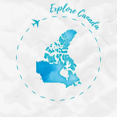 paint can: Canada watercolor map in turquoise colors. Explore Canada poster with airplane trace and handpainted watercolor Canada map on crumpled paper. Vector illustration. Illustration