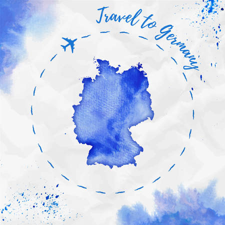 Germany watercolor map in blue colors. Travel to Germany poster with airplane trace and handpainted watercolor Germany map on crumpled paper. Vector illustration.