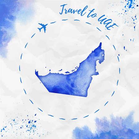 UAE watercolor map in blue colors. Travel to UAE poster with airplane trace and handpainted watercolor UAE map on crumpled paper. Vector illustration.
