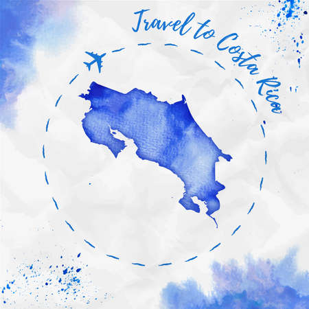 Costa Rica watercolor map in blue colors. Travel to Costa Rica poster with airplane trace and handpainted watercolor Costa Rica map on crumpled paper. Vector illustration. Illustration