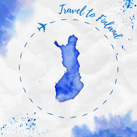 Finland watercolor map in blue colors. Travel to Finland poster with airplane trace and handpainted watercolor Finland map on crumpled paper. Vector illustration.