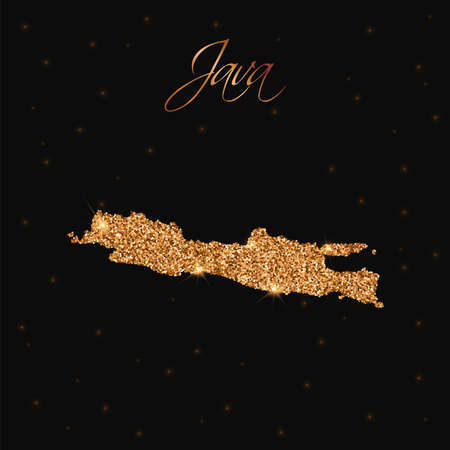 Java island map filled with golden glitter. Luxurious design element, vector illustration.