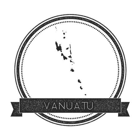 Retro distressed Vanuatu badge with map. Hipster round rubber stamp with country name banner, vector illustration.