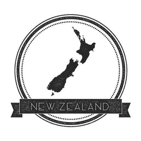 Retro distressed New Zealand badge with map. Hipster round rubber stamp with country name banner, vector illustration. Illustration