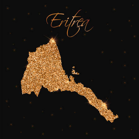 Eritrea map filled with golden glitter. Luxurious design element, vector illustration.