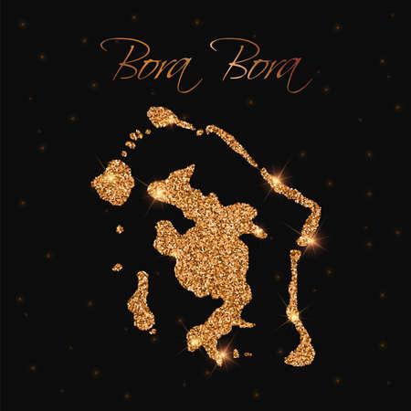 Carte de Bora Bora remplie de paillettes dorées. Élément de design luxueux, illustration vectorielle.