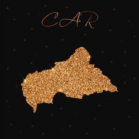 CAR map filled with golden glitter. Luxurious design element, vector illustration.