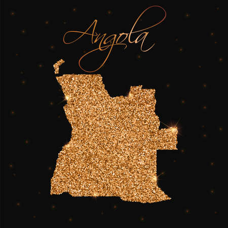 Angola map filled with golden glitter. Luxurious design element, vector illustration. Illustration