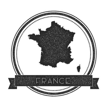 Retro distressed France badge with map. Hipster round rubber stamp with country name banner, vector illustration.