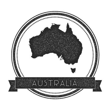 oceania: Retro distressed Australia badge with map. Hipster round rubber stamp with country name banner, vector illustration.