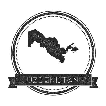 Retro distressed Uzbekistan badge with map. Hipster round rubber stamp with country name banner, vector illustration.