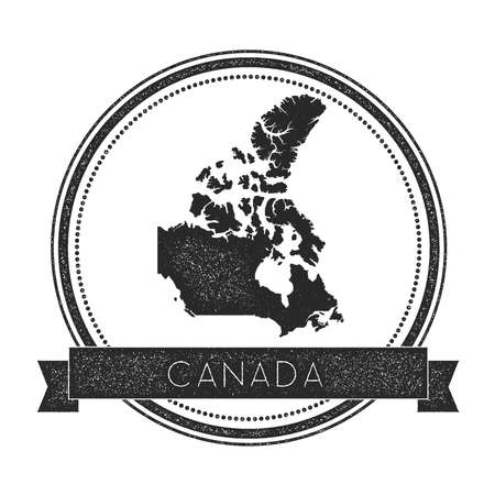 Retro distressed Canada badge with map. Hipster round rubber stamp with country name banner, vector illustration.