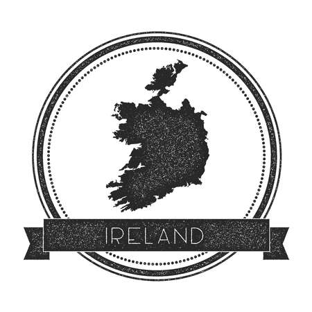 Retro distressed Ireland badge with map. Hipster round rubber stamp with country name banner, vector illustration.