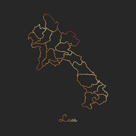 Laos region map: golden gradient outline on dark background. Detailed map of Laos regions. Vector illustration. Illustration