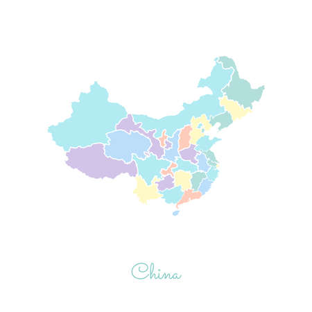 China region map: colorful with white outline. Detailed map of China regions. Vector illustration. Illustration