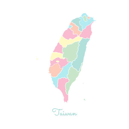 Taiwan region map: colorful with white outline. Detailed map of Taiwan regions. Vector illustration.