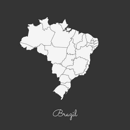 trotting: Brazil region map: white outline on grey background. Detailed map of Brazil regions. Vector illustration. Illustration