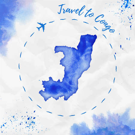 Congo watercolor map in blue colors. Travel to Congo poster with airplane trace and handpainted watercolor Congo map on crumpled paper. Vector illustration. Illustration