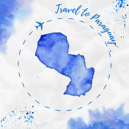 Paraguay watercolor map in blue colors. Travel to Paraguay poster with airplane trace and handpainted watercolor Paraguay map on crumpled paper. Vector illustration. Illustration