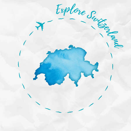 Switzerland watercolor map in turquoise colors. Explore Switzerland poster with airplane trace and handpainted watercolor Switzerland map on crumpled paper. Vector illustration.