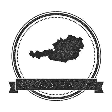 cachet: Retro distressed Austria badge with map. Hipster round rubber stamp with country name banner, vector illustration.