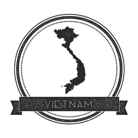 Retro distressed Vietnam badge with map. Hipster round rubber stamp with country name banner, vector illustration.