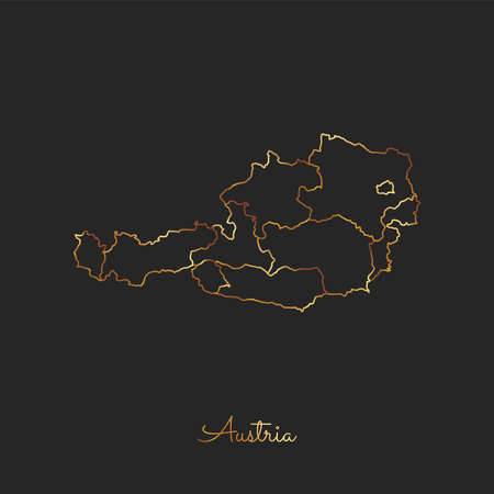 Austria region map: golden gradient outline on dark background. Detailed map of Austria regions. Vector illustration.