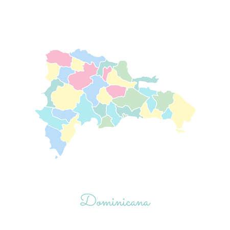 Dominicana-Regionskarte: bunt mit weißem Umriss. Detaillierte Karte der Dominicana-Regionen. Vektor-Illustration