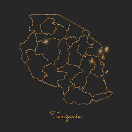 Tanzania region map: golden glitter outline with sparkling stars on dark background. Detailed map of Tanzania regions. Vector illustration.