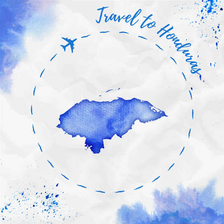 Honduras watercolor map in blue colors. Travel to Honduras poster with airplane trace and handpainted watercolor Honduras map on crumpled paper. Vector illustration. Illustration