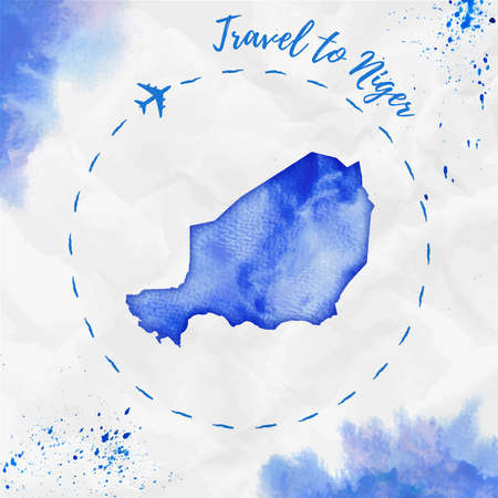 Niger watercolor map in blue colors. Travel to Niger poster with airplane trace and handpainted watercolor Niger map on crumpled paper. Vector illustration.